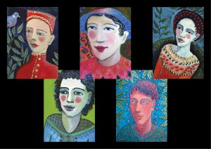 5 colourful cards of faces
