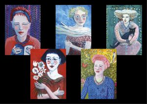 5 cards of different women each with a different story