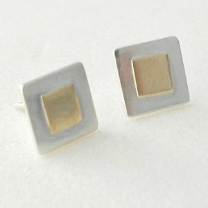 Sterling silver & 9ct Gold square studs
