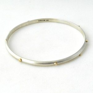 Sterling silver & 9ct Gold Studded Bangle