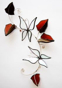 Irridised Butterflies with Autumn leaves