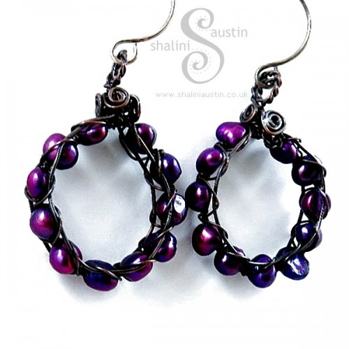 Purple Freshwater Pearls Earrings