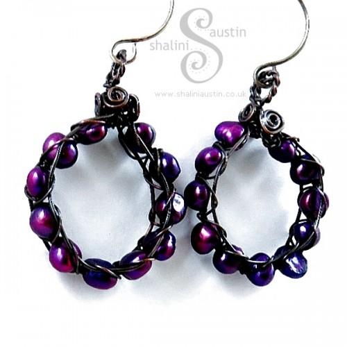 Purple Freshwater Pearls Earrings