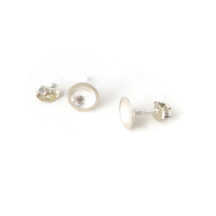 Domed ear studs in sterling silver