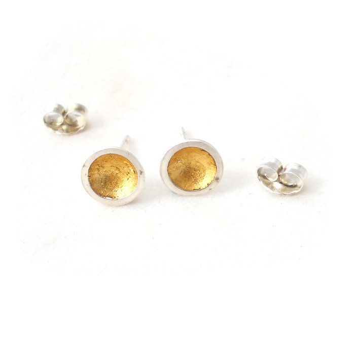 Gold leaf domed earrings