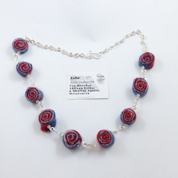 Red, white and Blue Felt and Wire Necklace