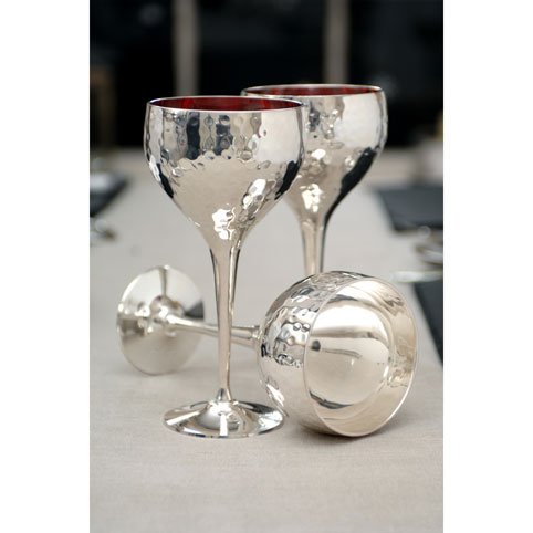 Pair Of Hammered Wine Goblets By Culinary Concepts Art In The