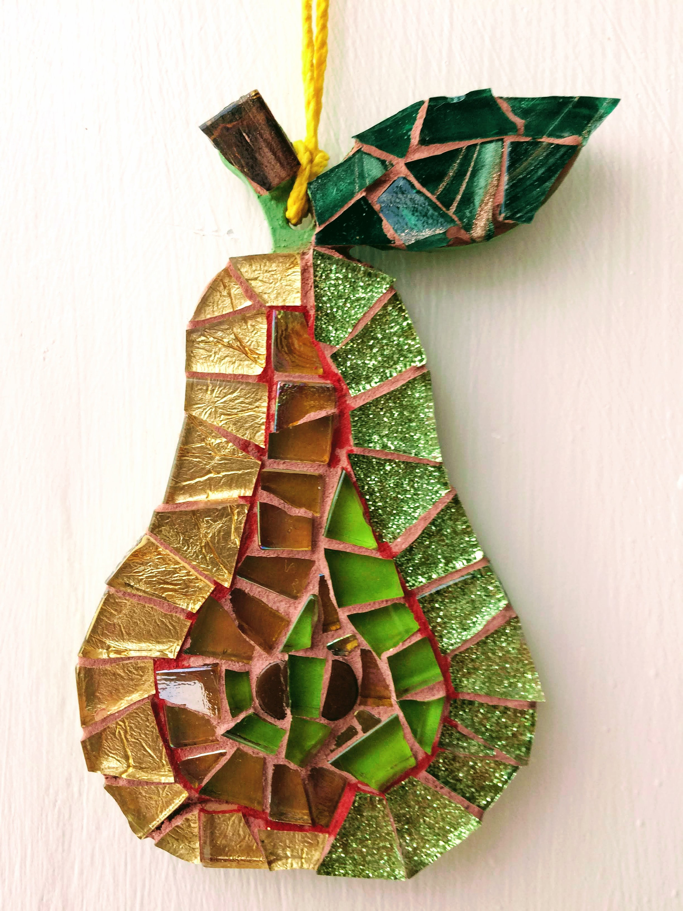 Handmade glass mosaic hanging green red gold pear Unique gift idea Kitchen  decor Gift for her Gift for him Wall art Wall decor by ShelaghJaneMosaics