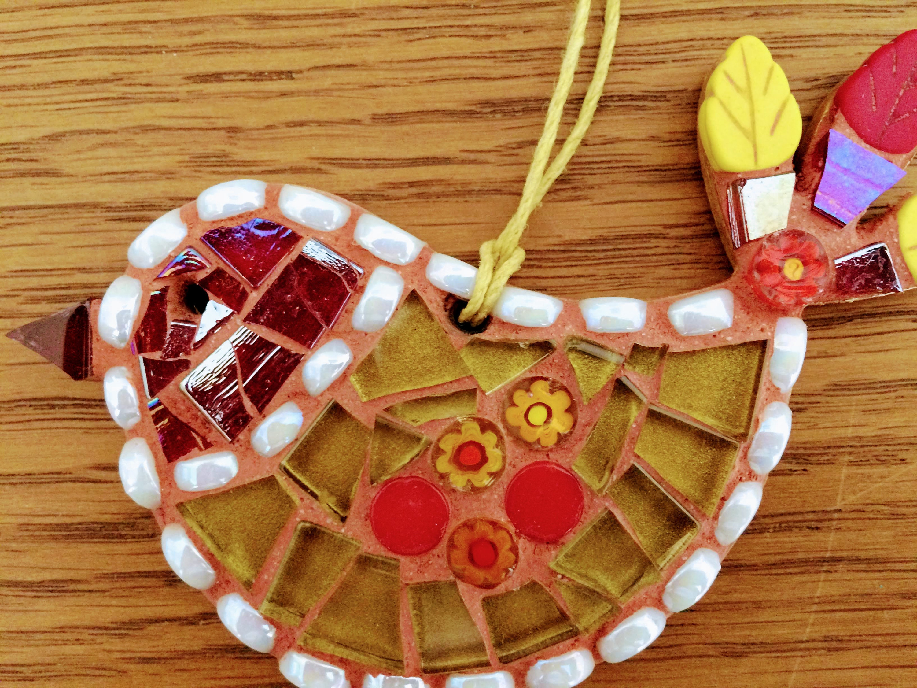 Handmade Glass Mosaic Red And Gold Hanging Bird Ornament Unique Gift Idea Bird Wall Art Home Decor Gift For Her By Shelaghjanemosaics