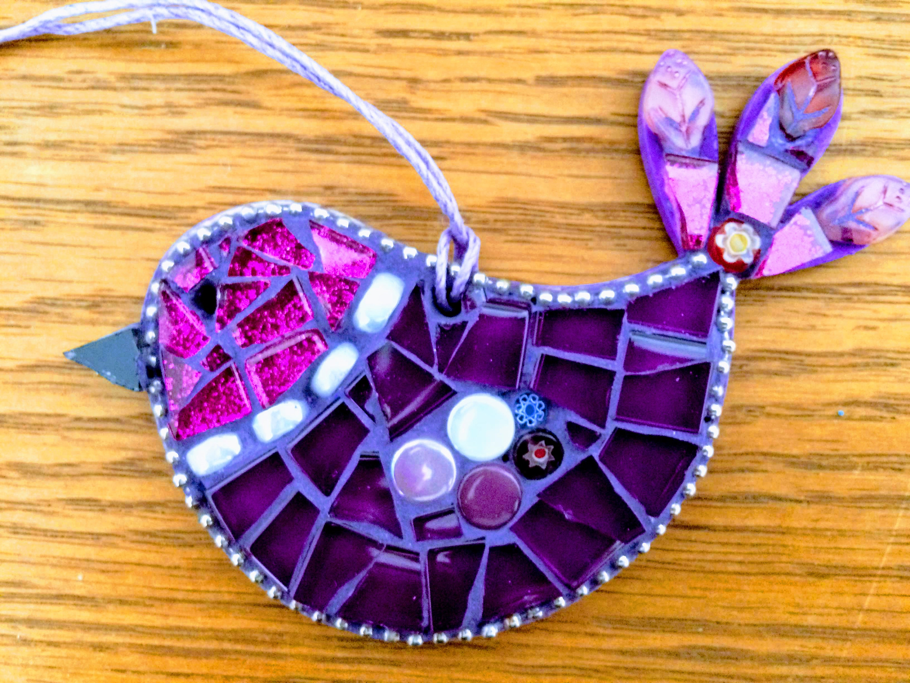 Handmade Glass Mosaic Pink And Purple Hanging Bird Ornament Unique Gift Idea Bird Wall Art Home Decor Gift For Her By Shelaghjanemosaics